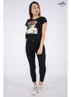 Cute black blouse with nice prints and crystal beads