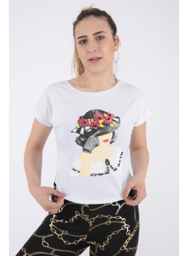 Cute white printed blouse with crystal and beads