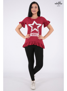 Elegant red T-shirts with nice prints and ruffles from Parties