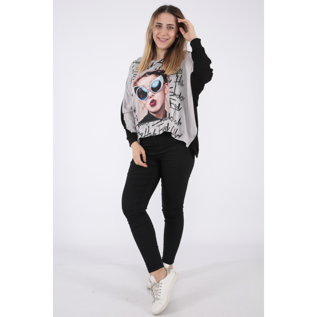 Elegant grey blouse decorated with nice prints long, high collar and modern view