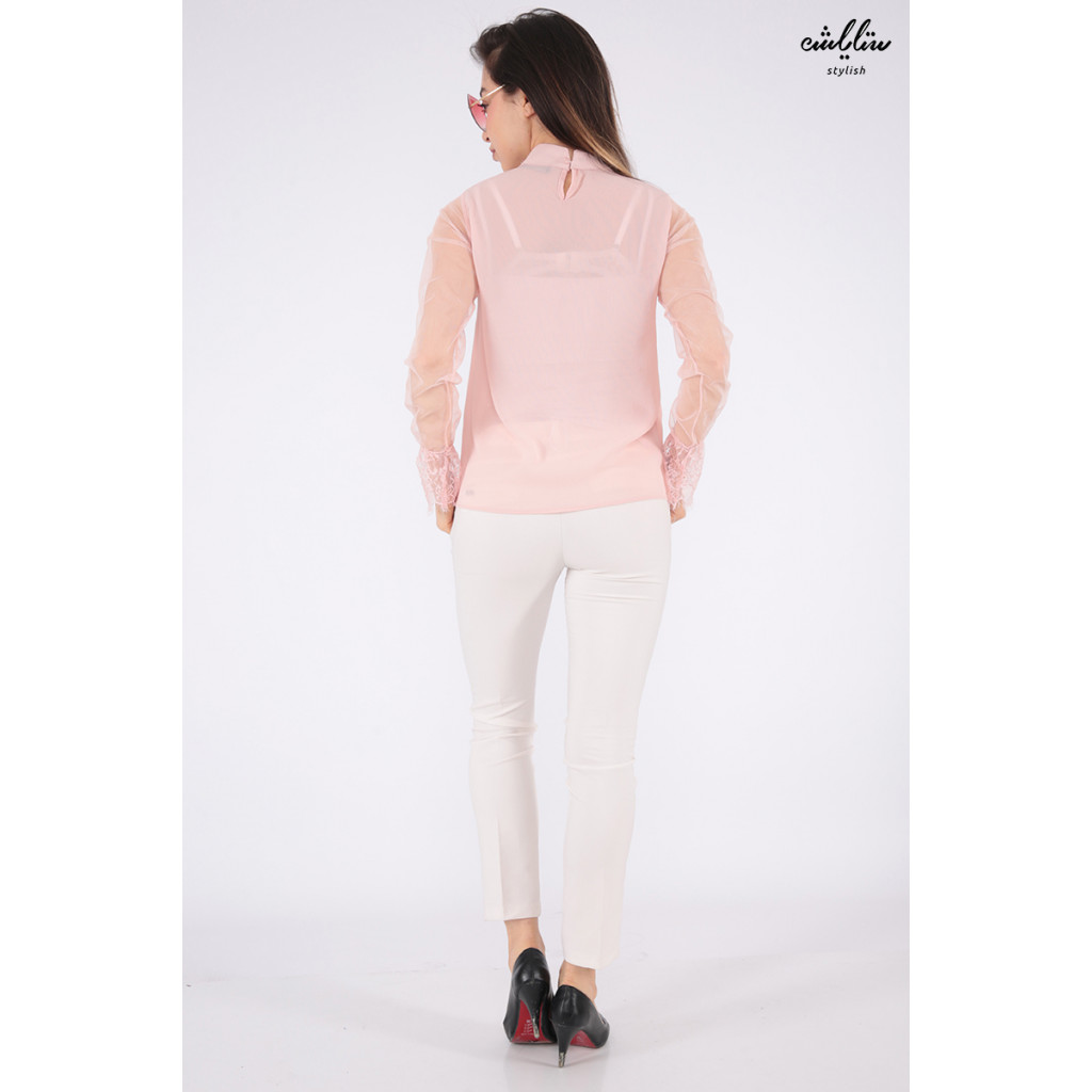 Soft pink blouse and long sleeve with high collar and a touch of beautiful lace