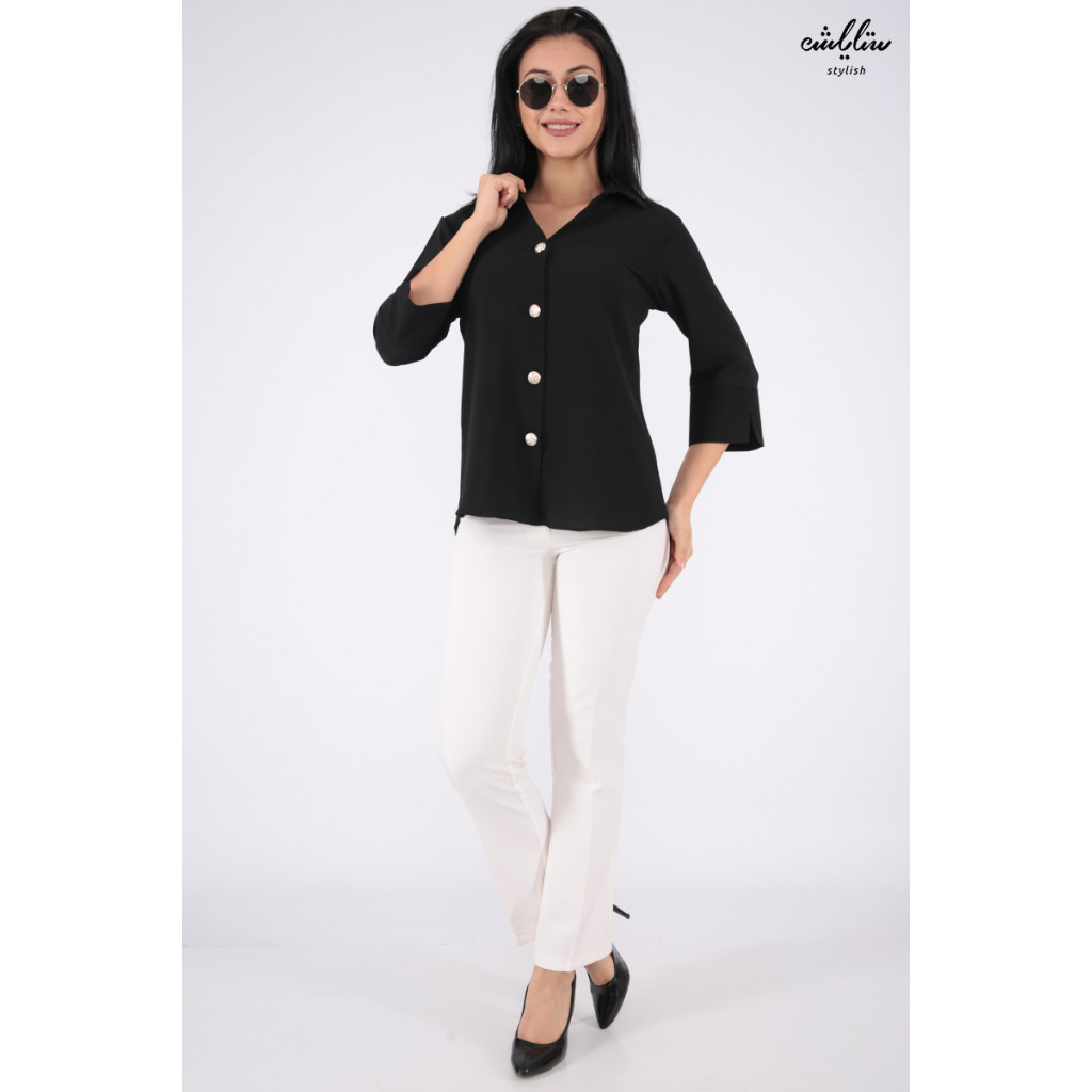 Soft black blouse with medium length and elegant formal collar