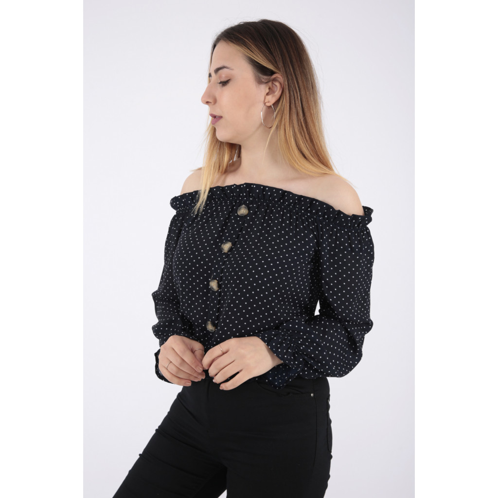 Elegant black blouse with a polka dots decorated with soft crisp buttons