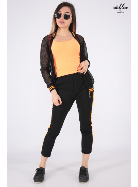 Stylish black set with three pieces of orange top and a jacket to give a modern look