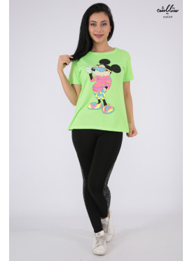 Cute green t-shirt with soft embroidery and Mickey Mouse print with Elegant touch