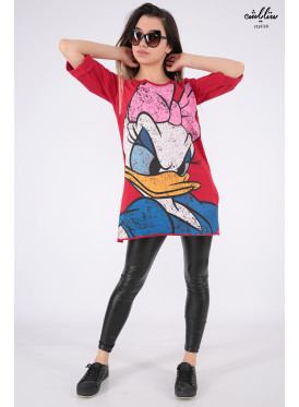Soft red print T-shirt with Daisy character