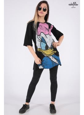 Soft Black print T-shirt with daisny personality