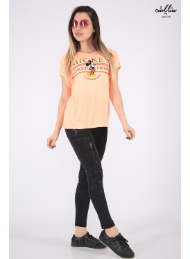 Orange T-shirt with soft embroidery and Mickey Mouse print with an elegant touch