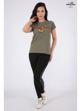 Oil T-shirt with soft embroidery and Mickey Mouse print with Elegant touch