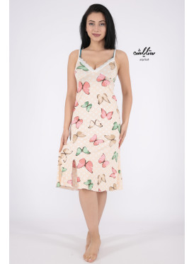 A very stylish home dress with soft material and design of crisp butterflies are all feminine