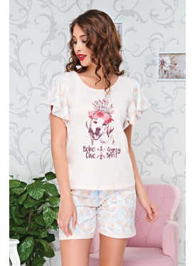 Soft short pajamas with cardboard prints and thin timberland shorts