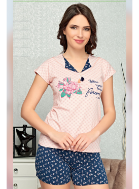 Soft and stylish short pajamas with pink and dark blue