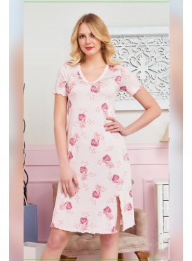 Cute short pink home shirt decorated with rose prints crisp babe