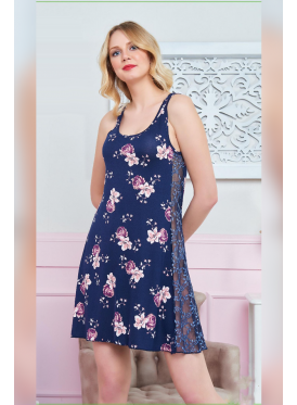 A very stylish home dress with soft material and crisp all feminine design