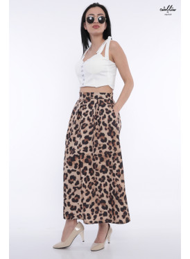 Leopard leather brown chic skirt with soft crisp soft breaks