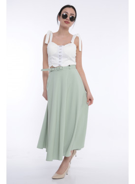 Bright green long skirt gives a soft and unique look