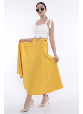 An elegant, wide-yellow, dark skirt that adds an appealing touch