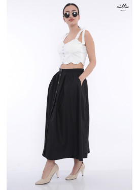 Elegant black skirt decorated with buttons and stylish strap