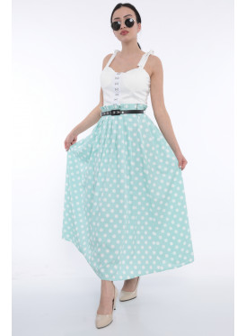 Chic High West skirt in light green, white dotted with crumb with attractive views