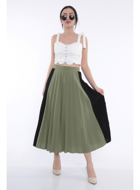 Elegant beige midi skirt with green and black with stylish crumb