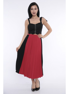 (Delicate red and black harmonious midi skirt with elegant crumb (stretch