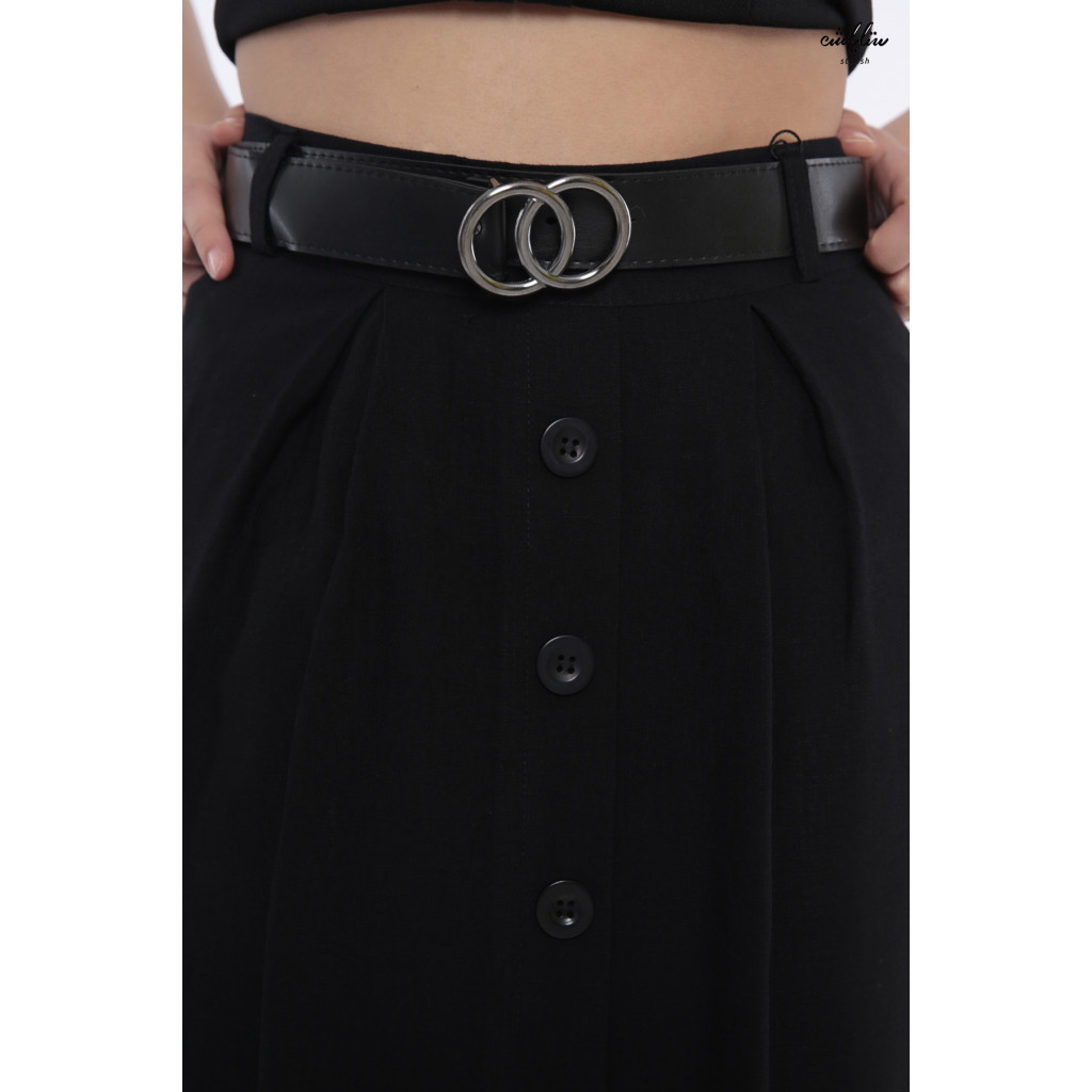 A very elegant black skirt decorated with attractive crisp buttons