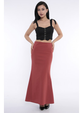 (Elegant red-colored maxi skirt with a beautiful cut that gives an attractive look (Rubber