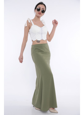(Elegant oil-colored maxi skirt with a beautiful cut that gives an attractive look (Rubber