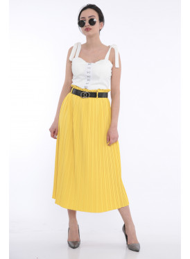 Yellow High-west beige skirt with elegant crisp leather strap