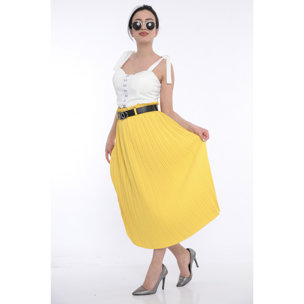 (Yellow High-west beige skirt with elegant crisp leather strap (stretch
