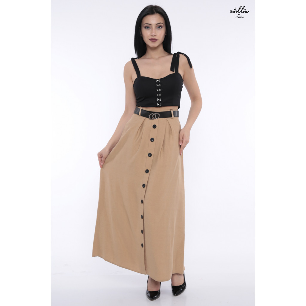 Elegant beige skirt decorated with buttons and elegant strap