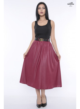 A high-end, crisp-style, red-coloured midi skirt, all luxurious