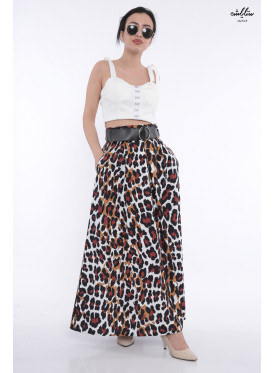 Leopard leather maxi skirt with pockets and leather strap