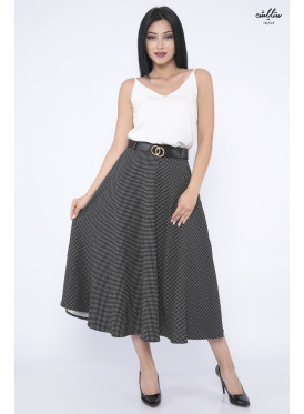 Wide and elegant black midi skirt with gorgeous polka dots crisp design