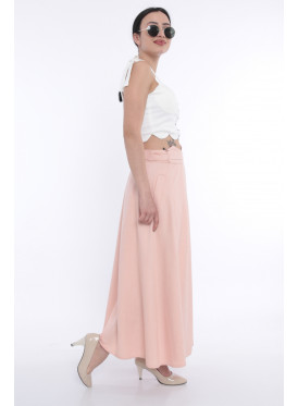 Pink wrap skirt with elegant waist design adds a refined touch