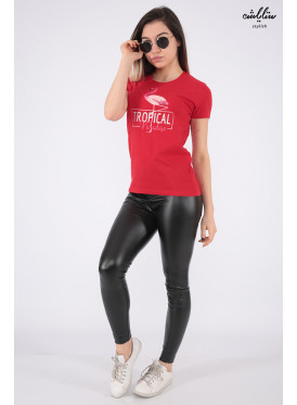 Elegant red T-shirts with outstanding details and flamenco prints for a beautiful view