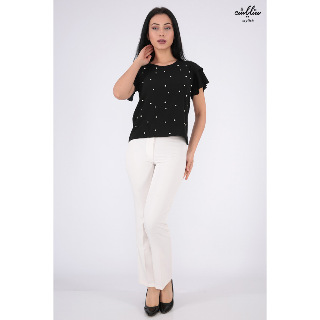 Elegant black blouse decorated with pearl granules for a charming view