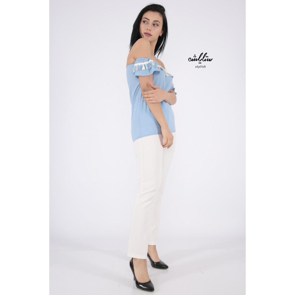 Elegant Sky blouse decorated with a style that increases your elegance