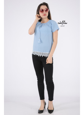 Elegant sky blouse with bare shoulders decorated with lace