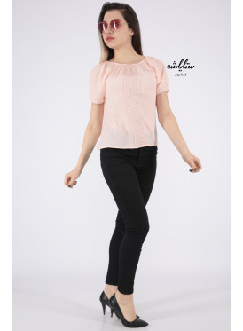 Soft pink blouse with a touch of lace