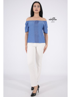 Soft blue blouse with a touch of lace
