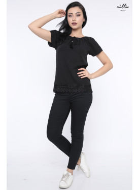 Stylish black blouse with bare shoulders decorated with lace