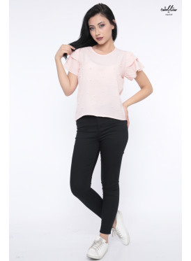Elegant pink blouse decorated with pearl granules for a charming view