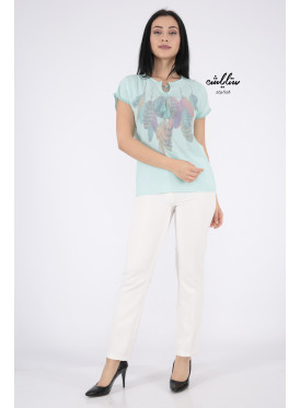 Elegant light green blouse decorated with gentle feather prints