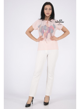 Elegant pink blouse decorated with gentle feather prints