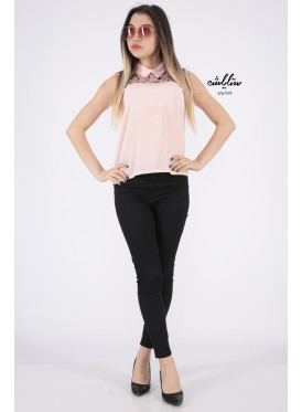 Elegant pink backless blouse decorated with high collar