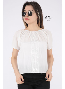 Soft white blouse with a touch of lace