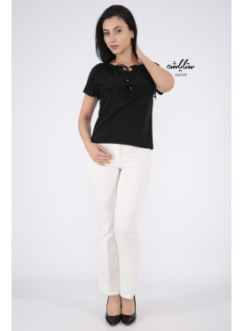 Elegant black blouse decorated with lace