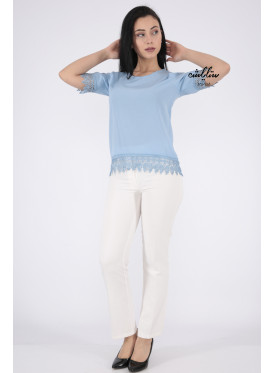 Elegant cyan backless blouse decorated with lace