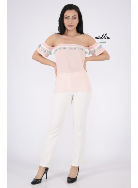 Elegant pink blouse decorated with a style that increases your elegance